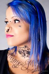 Lae Made (Amanda Tavano) Tags: blue bw woman sexy girl face tattoo hair jack arm body mulher pb piercing tattoos chick made daniels garota piercings modification menina corporal tatuagem tattooed tattoed lae tatuada porple modificao