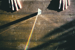 (Han Cheng Yeh) Tags: light shadow rainbow hand prism refraction woodtable