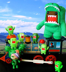 All aboard!! (DollyBeMine) Tags: green animal japan train vintage toy japanese stuffed dragon dinosaur plush lizard plastic domo figure domokun qee