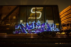 MBARK (TheLost&Found) Tags: seattle summer art minnesota night train bench photography graffiti coast midwest long exposure painted north cities minneapolis twin trains boxcar graff snc 2013 mbark