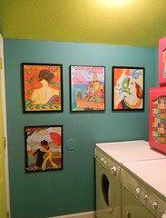 Laundry in Color Art (Morganthorn) Tags: door pink woman green art painting fun colorful aqua cabinet teal acid funky laundry bold shocking