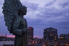 DSC_0560 (Eléxir) Tags: street blue sculpture angel clouds buildings lights wings twilight purple montréal dusk