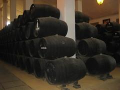 Warehouse of Sandeman Bodega in Jerez de la Frontera, Andaluzia - Spain (Laura713) Tags: spain barrel warehouse jerezdelafrontera andaluzia 2013 sandemanbodega