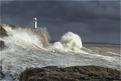 Rough Seas (angeladj1) Tags: sea lighthouse wales rocks waves stormy spray porthcawl