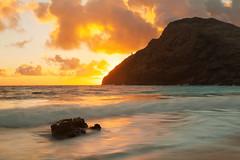 Makapuu's Golden Light (rayman102) Tags: lighthouse seascape sunrise landscape hawaii oahu makapuu makapuulighthouse makapuubeach neutraldensity watermotion 5dmarkii variablendfilter