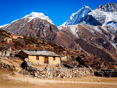 Yak herders' hut in the Himalaya (whitworth images) Tags: nepal yak white house snow mountains cold home nature field stone wall rural trekking landscape outdoors frozen nationalpark asia farm small seasonal scenic scene hut pasture agriculture himalaya khumbu everest enclosure sagarmatha luza solukhumbu sagarmathanationalpark