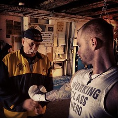 """Lacin the gloves up for the new video shoot with Pgh legend Jimmy Cvetic, @realdealpgh and pro heavyweight monster Ed Latimore. Wild excited to wrap this one up and share with you guys! #roundandround #breathbybreath #jessemader #realdeal #edlatimore • <a style=""""font-size:0.8em;"""" href=""""https://www.flickr.com/photos/62467064@N06/12173228703/"""" target=""""_blank"""">View on Flickr</a>"""