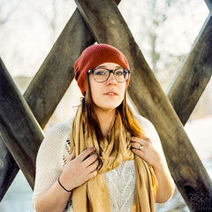 Red & Yellow (Sean Molin Photography) Tags: portrait 6x6 film girl field hat analog zeiss scarf mediumformat outdoors glasses kodak bokeh indianapolis indy indiana depthoffield hasselblad redhat squareformat carl medium format analogue brunette portra depth f28 zionsville 160 c41 hasselblad500cm kodakportra yellowscarf kodakportra160 of