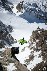 Aiguille du midi - Laurent Frat et Philippe Jean © Damien Deschamps-0799 (deschdam6@gmail.com) Tags: wild cliff color colors birds landscape fun flying crazy high jump jumping wings action awesome extreme flight damien human sick chamonix base montblanc proximity parachute d800 2014 wingsuit deschamps basejump chx