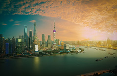 Aerial photography Shanghai skyline at sunset (Zhengsheng) Tags: world life china street city travel blue light sky urban building tower tourism water skyline architecture modern night skyscraper river asian evening office construction asia downtown cityscape waterfront view shanghai famous horizon central chinese landmark center scene aerial architectural business highrise oriental streetscape bund metropolitan aerialphotography futuristic attraction architectonic birdview