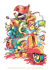 A Long Journey with my Beloved Vespa (anggatantama) Tags: illustration cat graphicdesign vespa vectorart tshirt motorcycle illustrator commission tee tshirtdesign vector adobeillustrator tantama