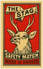 The Stag Safety Match (Alan Mays) Tags: old red brown black animals vintage ads paper advertising typography sweden antique illustrations ephemera deer antlers type labels banners matches advertisements fonts printed straps borders typefaces stags matchboxlabels scrolls thestag matchboxes safetymatches strapwork