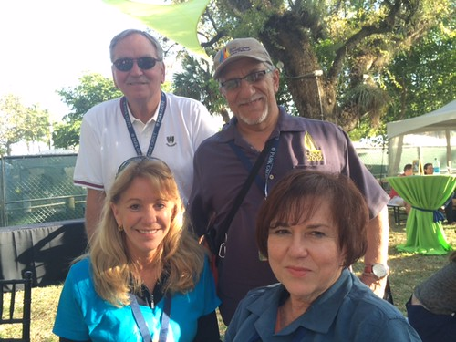 Coconut Grove Arts Festival fans and board members Mike Smith,  Jose Matute,  Elena Carpenter and Lilia Garcia enjoy the afternoon in the VIP area