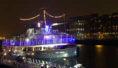 Ship in the city (Dubspotter2015) Tags: city nightphotography ireland irish water beautiful bar night canon river dark boat ship cityscape nightscape ships diner bistro citylights 1785mm nightphotos afterdark mv riverliffey cill longexposures dublincity airne canon7d mvcillairne