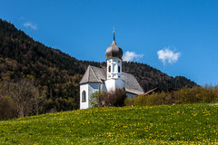 001 -20160429 Oberkirche Weissensee Holiday _MG_0545-2 (jvlady) Tags: flowers trees white lake mountains alps church field yellow forest germany mountainside weissensee