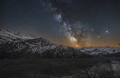 Riding trails... (Perez Alonso Photography) Tags: sky lake france alps night landscapes nightscape lac roseland milkyway frenchalps