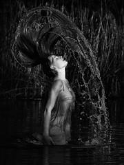 Ecstasy (fehlfarben_bine) Tags: woman lake monochrome contrast naturallight splash nikond800 7002000mm
