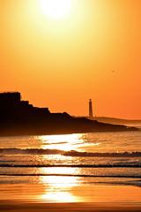 Sunrise in Gloucester, MA (arda292000) Tags: ocean travel vacation orange sun lighthouse color beach water sunrise coast earlymorning tourists gloucesterma