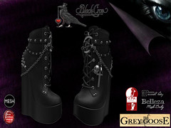 Black Crow Heels (*The Grey Goose) Tags: black girl women shoes pumps cross witch vampire avatar gothic fantasy secondlife virtual heels outfits platforms pagan