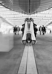 (Magdalena Roeseler) Tags: street people bw woman paris art monochrome moments candid strasse streetphotography streetportrait olympus sw reflexion strassenfotografie streetog