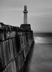 Aberdeen Harbour South Breakwater (PeskyMesky) Tags: longexposure sea blackandwhite bw lighthouse monochrome scotland blackwhite outdoor pov pointofview aberdeen le northsea aberdeenharbour northeastscotland southbreakwater