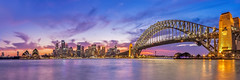 Sydney Harbour Sunset (www.facebook.com/BronwynBellPhotography) Tags: city travel bridge sunset vacation urban building water skyline architecture canon eos harbour dusk pano panoramic relfection illumnated
