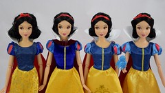 2013-2016 Classic Snow White Dolls Compared - Disney Store Purchases - Midrange Front View (drj1828) Tags: disneystore doll 12inch classicprincessdollcollection 2016 purchase snowwhite snowwhiteandthesevendwarfs deboxed standing 2013 2014 2015 comparison sidebyside review