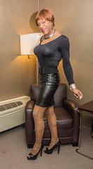 A Coy Look! (kaceycd) Tags: pumps highheels vinyl s tgirl bodysuit stilettoheels miniskirt pantyhose crossdress spandex lycra tg leotard stilettos wetlook supporthose sexypumps opentoepumps stilettopumps peeptoepumps