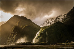 Milford Mist (nl_photo) Tags: sunset newzealand snow mountains beach water clouds landscape nikon dramatic explore nz milfordsound southland d300 explored