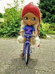 Shannon, her first ride on a bike