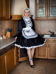 Maid (blackietv) Tags: white black kitchen dress lace crossdressing tgirl apron transgender transvestite gown satin maid crossdresser petticoat