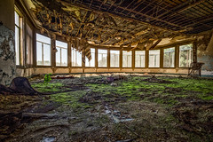 How Green was My Mezzanine (Entropic Remnants) Tags: pictures abandoned photography photo fuji image photos pics picture pic images photographs photograph fujifilm exploration asylum f4 remnants urbex statehospital entropic xt1 embreeville 1024mm embersville