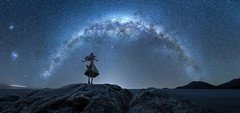 I Cross Oceans for You (Ateens Chen) Tags: longexposure sea newzealand portrait people panorama mountain lightpainting colour rock night dark landscape star nikon nightscape outdoor ngc ateens nightportrait milkyway starlight kotobukiya horo southpacificocean perspectivecontrol tiltshiftphotography d810 starrysky hyperfocaldistance magellaniccloud spiceandwolf pcenikkor24mmf35ded 18scalefigure