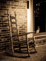 Rocking Chair and Fluffy (RandyFinch) Tags: frontyard frontporch rockingchair