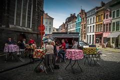 Street Cafe in Sint-Jacobs, Ghent (Adri Pez) Tags: street city sky people church buildings calle edificios gente iglesia ciudad cielo sintjacobs sintjacobskerk