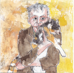 # 174 (22-06-2016) (h e r m a n) Tags: man male kat cat manenman en katman herman illustratie tekening bock oosterhout zwembad 10x10cm 3651tekenevent tegeltje drawing illustration karton carton cardboard