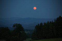 Summer Solstice Strawberry Moon... (Marla Nutbrown) Tags: houses summer sky moon mountains nature night landscape evening strawberry view scenic solstice 2016 naturallightphotography marlanutbrownphotography