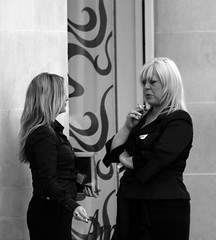Smoke Break 2 (tezzer57) Tags: street ireland urban blackandwhite bw dublin women candid smoking