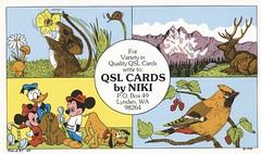 Niki #97: QSL Cards by Niki - Lynden, Washington (73sand88s by Cardboard America) Tags: qsl qslcard artistcard disney mouse bird elk mountain washington cbradio vintage niki