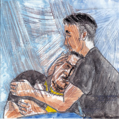 # 180 (28-06-2016) (h e r m a n) Tags: herman illustratie tekening bock oosterhout zwembad 10x10cm 3651tekenevent tegeltje drawing illustration karton carton cardboard tweemannen twomen verdriet comfort consolation troost grief sorrow