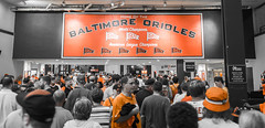 Baltimore Orioles orange (RPStrick) Tags: yards bw orange white black camden orioles