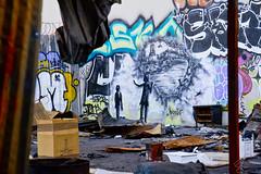 Bandit Wreckage of War4 (Brett Landrum) Tags: california street urban streetart abstract art abandoned canon photography graffiti photo losangeles los stencil angeles abstractart spray urbanart abandonedhouse spraypaint bandit vernon stencilart dtla graffitiart sprayart canon7d banditstreetart banditart