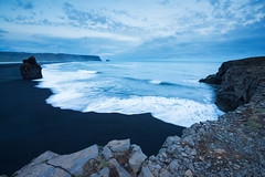 Just around Midnight (Marco Battini) Tags: iceland beach blacksand ocean cliffs reynisfjara shore waves twilight