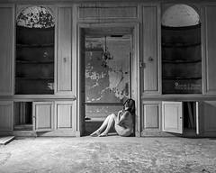 Lost & Found (sadandbeautiful (Sarah)) Tags: bw woman selfportrait abandoned me female self doorway mansion delaware urbex