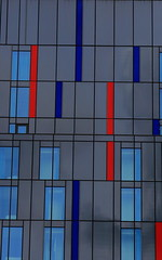 Geometric Abstract (Paul Beech) Tags: blue red colour reflection window glass composition lens grid grey cool flickr dof zoom pov steel great line handheld colourful ef24105mmf4lisusm qualtiy paulbeech