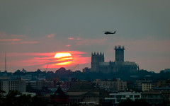 Blackhawk Sunset (ep_jhu) Tags: sunset sun sol clouds canon dc washington cathedral aircraft helicopter nubes 7d dcist puesta nationalcathedral