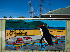 Save Our Environment (Steve Taylor (Photography)) Tags: wood roof newzealand streetart art beach fence painting graffiti penguin coast tv sand mural nelson aerial lane nz southisland coastline landon samual saveourenvironment