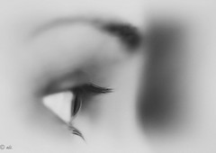 In a blink of an eye.. a moment in time (Catching_alchemic light) Tags: bw blackandwhiteawards monochrome macro perspective closeup close lashes eyeball brow depthoffield dof bokeh iris stare