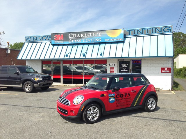 Mini Cooper - Sport Stripes with Custom Side Graphics and Vinyl Lettering - C.O.P.S. Driving Academy