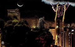 Enter the Ghidorah! by WoGzilla (WoGzilla  ) Tags: city moon art buildings fun fire fan smoke godzilla monsters wog kaiju gojira ghidorah worldofgojira wogzilla